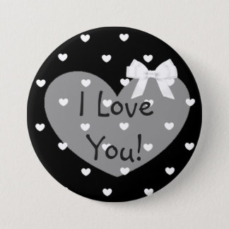 Bóton Redondo 7.62cm Eu te amo botão branco do arco dos corações pretos