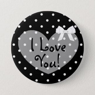 Bóton Redondo 7.62cm Eu te amo o preto pontilha o botão branco