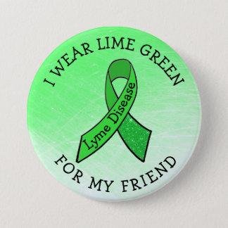 Bóton Redondo 7.62cm Eu visto o verde limão para meu botão de Lyme do
