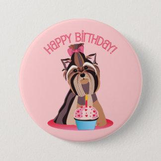 Bóton Redondo 7.62cm Feliz aniversario Yorkie