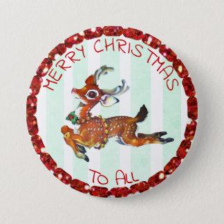 Bóton Redondo 7.62cm Feliz Natal a tudo, etiquetas da rena do vintage