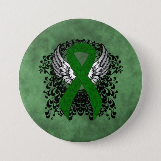Bóton Redondo 7.62cm Fita verde com asas