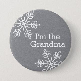 Bóton Redondo 7.62cm Floco de neve cinzento e branco eu sou a avó
