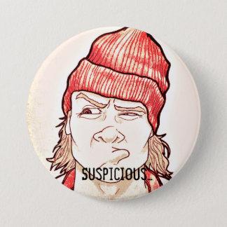 Bóton Redondo 7.62cm Grande botão suspeito engraçado