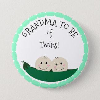 Bóton Redondo 7.62cm Grandm a ser dos gêmeos no botão do chá de fraldas