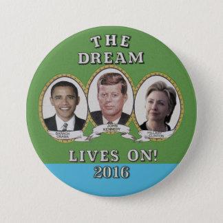 Bóton Redondo 7.62cm Hillary Clinton, Barack Obama & John Kennedy