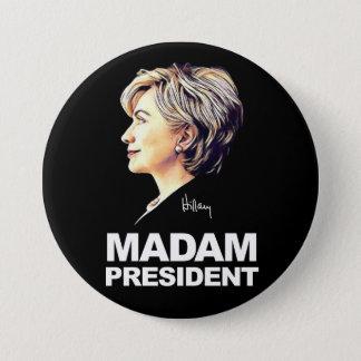 "Bóton Redondo 7.62cm Hillary Clinton ""senhora presidente"" botão"