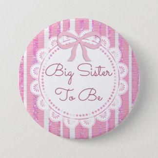 Bóton Redondo 7.62cm Irmã mais velha a ser arco do rosa de botão do chá