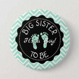 Bóton Redondo 7.62cm Irmã mais velha a ser botão verde do chá de