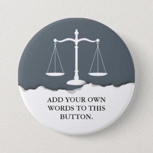 Bóton Redondo 7.62cm Justiça escala o advogado feito sob encomenda do