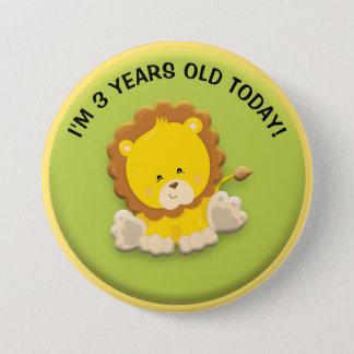 Bóton Redondo 7.62cm Leão bonito no botão verde do aniversário