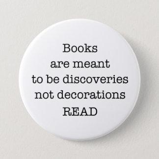"""Bóton Redondo 7.62cm Leia os livros grande 3"""" o botão branco e preto"""