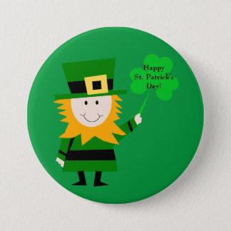 Bóton Redondo 7.62cm Leprechaun bonito com Pin do dia de St Patrick do