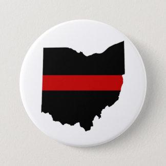 Bóton Redondo 7.62cm Linha vermelha fina botão de Ohio