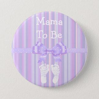 Bóton Redondo 7.62cm Mama a ser botão do chá de fraldas: Arco roxo