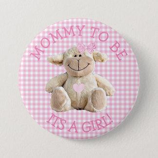 Bóton Redondo 7.62cm Mamães a ser botão cor-de-rosa do chá de fraldas