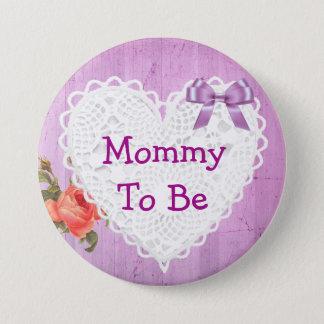 Bóton Redondo 7.62cm Mamães a ser botão roxo do chá de fraldas do rosa