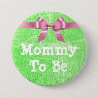Bóton Redondo 7.62cm Mamães a ser verde limão e botão cor-de-rosa