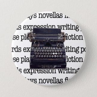 Bóton Redondo 7.62cm Máquina de escrever do vintage