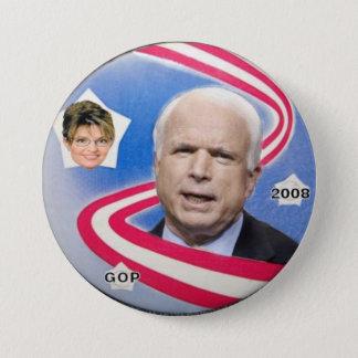 Bóton Redondo 7.62cm McCain/botão fita de Palin