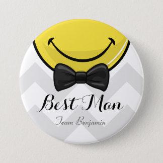 Bóton Redondo 7.62cm Melhores homens de sorriso que Wedding o botão