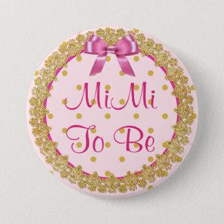 Bóton Redondo 7.62cm MiMi para ser botão cor-de-rosa & do ouro do chá