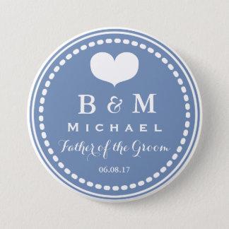 Bóton Redondo 7.62cm Monograma azul - pai do botão do casamento do