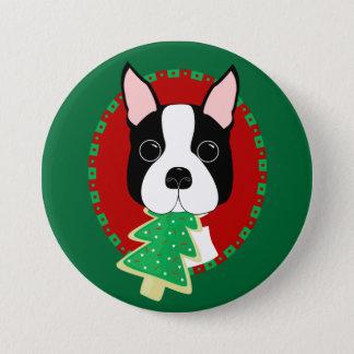 Bóton Redondo 7.62cm Natal de Boston Terrier