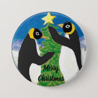Bóton Redondo 7.62cm Natal grande, botão redondo do pinguim de 3