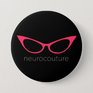 Bóton Redondo 7.62cm Neurocouture - Pin cor-de-rosa do logotipo dos