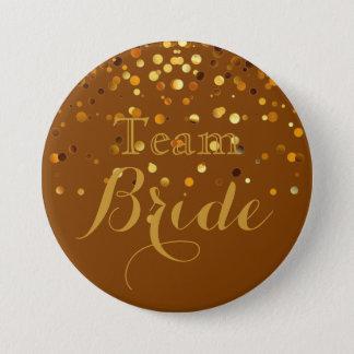 Bóton Redondo 7.62cm Noiva roxa da equipe do casamento da folha do