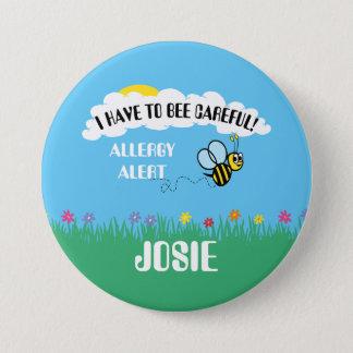 Bóton Redondo 7.62cm O alerta da alergia de comida Bumble o botão da