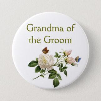 Bóton Redondo 7.62cm o rosa branco do vintage floresce a avó do noivo