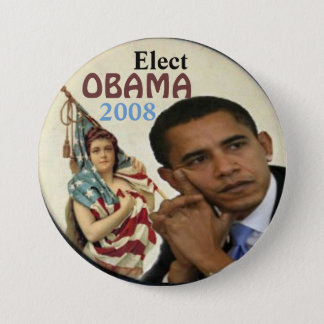 Bóton Redondo 7.62cm Obama/senhora Liberdade Botão