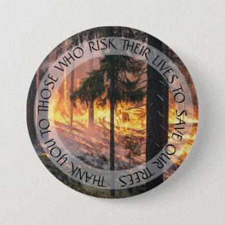 Bóton Redondo 7.62cm Obrigado botão do incêndio florestal das florestas