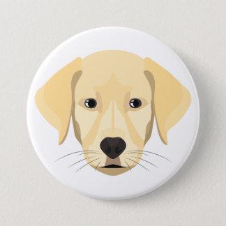 Bóton Redondo 7.62cm Ouro Retriver do filhote de cachorro da ilustração