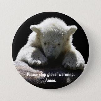 Bóton Redondo 7.62cm Pare o botão do urso polar de aquecimento global