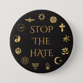 """Bóton Redondo 7.62cm """"Pare o ódio"""" com símbolos de religiões do mundo"""
