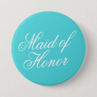 Bóton Redondo 7.62cm Pin do botão da madrinha de casamento de turquesa
