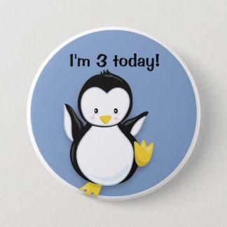 Bóton Redondo 7.62cm Pinguim bonito da dança no botão azul do
