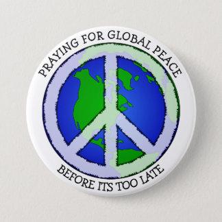 Bóton Redondo 7.62cm Praying para o botão da terra da paz de mundo
