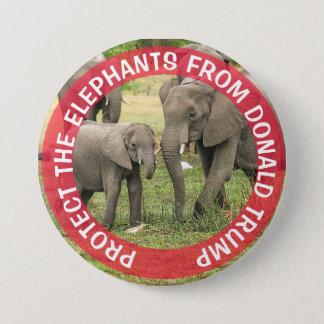 Bóton Redondo 7.62cm PROTEJA botão de Donald Trump dos ELEFANTES o anti