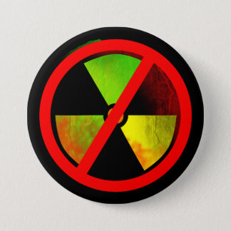 Bóton Redondo 7.62cm Símbolo radioativo das No-Armas nucleares do