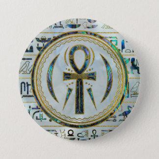 Bóton Redondo 7.62cm Símbolo transversal de Ankh do egípcio de Shell do