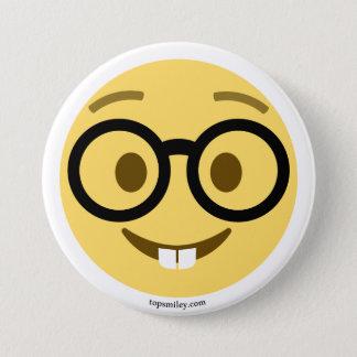 Bóton Redondo 7.62cm Smiley Emoji Nerd com gancho e dentes de lebre