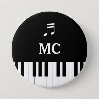 Bóton Redondo 7.62cm Teclado de piano que Wedding Pin MC