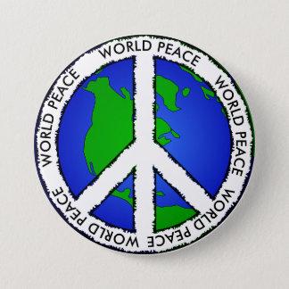 Bóton Redondo 7.62cm Terra da paz de mundo e botão do sinal de paz
