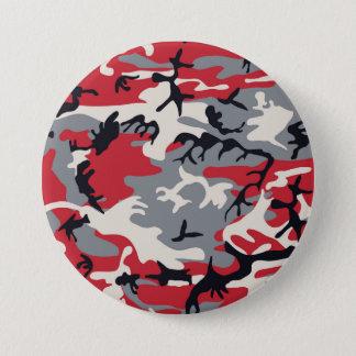 Bóton Redondo 7.62cm Teste padrão cinzento vermelho da camuflagem de