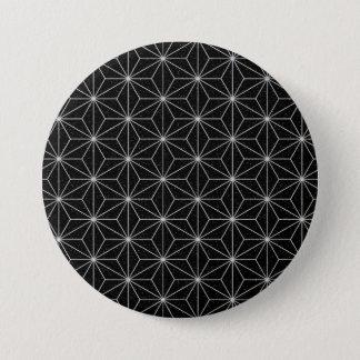 Bóton Redondo 7.62cm Teste padrão geométrico elegante - prata & Preto
