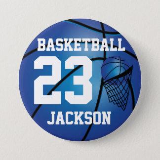 Bóton Redondo 7.62cm Texto azul escuro do basquetebol e da aro   DIY